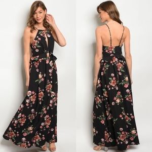 ANGELINA Floral Print Maxi Dress - BLACK